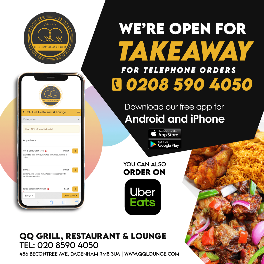 QQ Grill, Restaurant and Lounge, Dagenham. Open for Takeaway